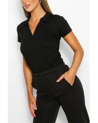 Boohoo Basic Polo T-shirt - Black