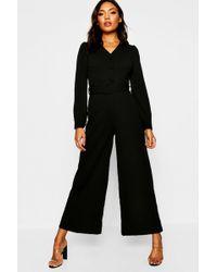 d149e39df2f Boohoo Tie Front Striped Culotte Jumpsuit in Black - Lyst