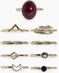 Boohoo - Scarlett Stone & Geometric Mixed 9 Ring Pack - Lyst