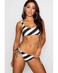 e6e63289fbbdf Boohoo - Cornwall Nautical Stripe Scoop Bikini - Lyst