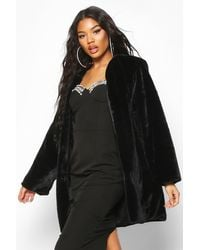 Boohoo Collarless Faux Fur Coat - Noir