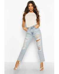 Boohoo High Waist Light Wash Distress Mom Jeans - Blue