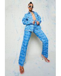 Boohoo - High Waist Printed Boyfriend Jeans - Lyst