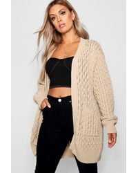 Boohoo Plus Crochet Knitted Oversized Cardigan - Neutro