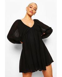 Boohoo Plunge Balloon Sleeve Smock Dress - Nero