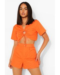 Boohoo Cotton Poplin Rouched Top And Short Co-ord - Arancione