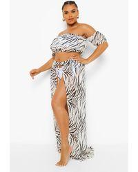 Boohoo Plus Zebra Print Chiffon Beach Co-Ord - Negro