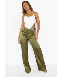Boohoo Stripe Satin Tie Waist Wide Leg Trouser - Green