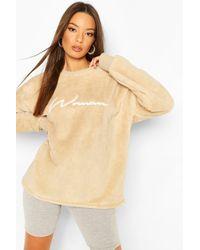 Boohoo Womens Oversized Pullover Aus Fleece Mit Woman-Stickerei - Natur