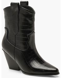 Boohoo Croc Pointed Cowboy Boots - Black