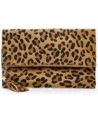 Boohoo Womens Pony Leopard Foldover Clutch Bag - Natural