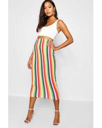 Boohoo - Rainbow Stripe Midaxi Skirt - Lyst