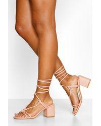 Boohoo Knot Detail Wrap Strap Low Block Heels - Pink