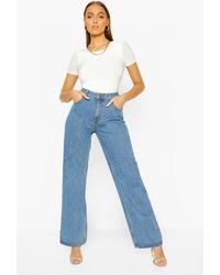 Boohoo Jeans Acampanados De Talle Alto - Azul