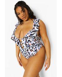 Boohoo Plus Leopard Ruffle Plunge Bathing Suit - Black