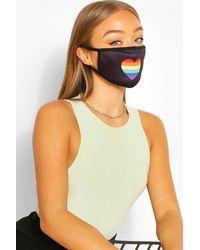 Boohoo Rainbow Heart Fashion Face Mask - Black