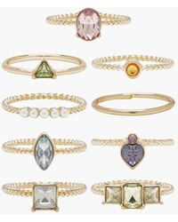 Boohoo Pastel Stone And Pearl Stacking Rings - Multicolour