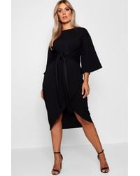Boohoo Plus Kimono Sleeve Wrap Over Midi Dress - Black