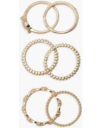 Boohoo Stone Detail 6pack Stacking Rings - Metallic