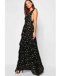af3e281788187d Boohoo Boutique Scallop Lace Bandeau Maxi Dress in Black - Lyst