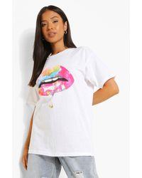 Boohoo Petite Lips Print T-shirt - White