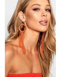 Boohoo - Anna Statement Beaded Long Tassel Earrings - Lyst