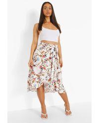 Boohoo Nautical Shell Print Wrap Midi Skirt - White