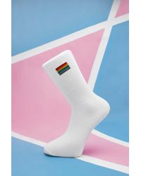 Boohoo Pride Rainbow Embroidered Sport Sock - Pink