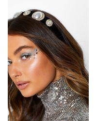 Boohoo Large Pearl And Diamante Headband - Black