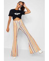Boohoo - Bright Slinky Stripe Flares - Lyst