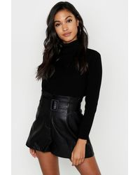 Boohoo Faux Leather Belted Shorts - Black