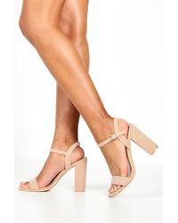 Boohoo Block Heel Barely There Heels - Natural