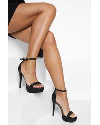 Boohoo Glitter 2 Part Platform Heels - Black