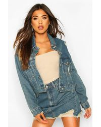Boohoo Vintage Wash Cropped Denim Jacket - Bleu