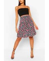 Boohoo Floral Ruched Front Mini Skirt - Negro