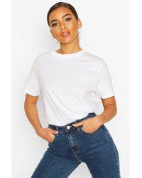 Boohoo Petite Round Neck Cotton T-shirt - White
