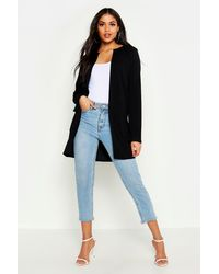 Boohoo Womens Tall Collarless Duster Jacket - Black
