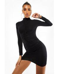 Boohoo High Neck Rouche Mini Dress - Black