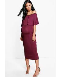 Boohoo - Womens Maternity Off The Shoulder Midi Dress - Lyst