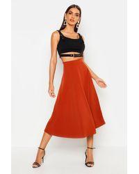 Boohoo Crepe Skater Midi Skirt - Red