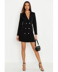 18e3b119fdfed Lyst - Boohoo Petite Metallic Blazer Dress in Black
