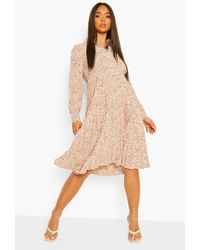 Boohoo - Leopard Print Pleated Midi Shirt Dress - Lyst