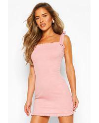 Boohoo Womens Petite Frill Edge Tie Strap Mini Dress - Pink