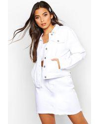 Boohoo Crop Denim Jacket - White
