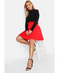 Boohoo - Plus Paper Bag Button Detail Skater Skirt - Lyst