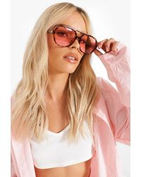 Boohoo Oversized Tort Tinted Lens Sunglasses - Pink