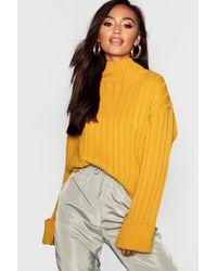Boohoo Petite Rib Knit High Neck Sweater - Yellow