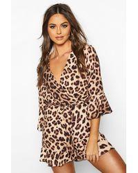 Boohoo Wrap Front Ruffle Hem Leopard Playsuit - Marron