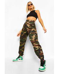 Boohoo Pantalones De Camuflaje Con Bloques De Color - Verde