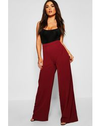 Boohoo High Waisted Woven Wide Leg Trousers - Red